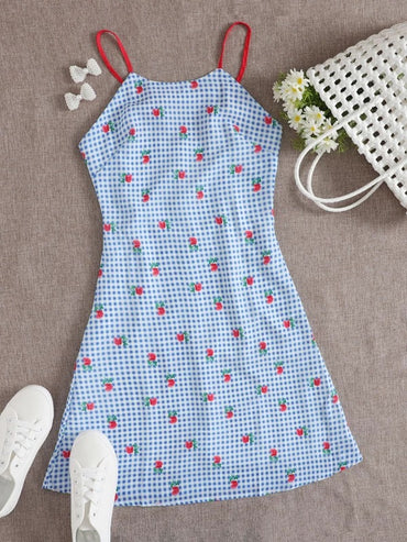 Women Rose And Gingham Tie Back Mini Cami Dress