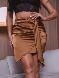 Women Ruched Asymmetrical Hem Satin Skirt
