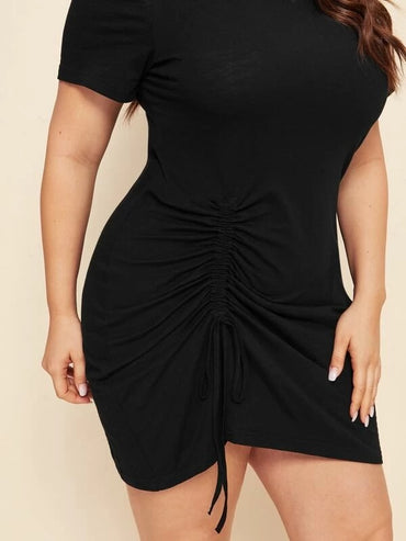 Women Plus Size Ruched Drawstring Mini Dress