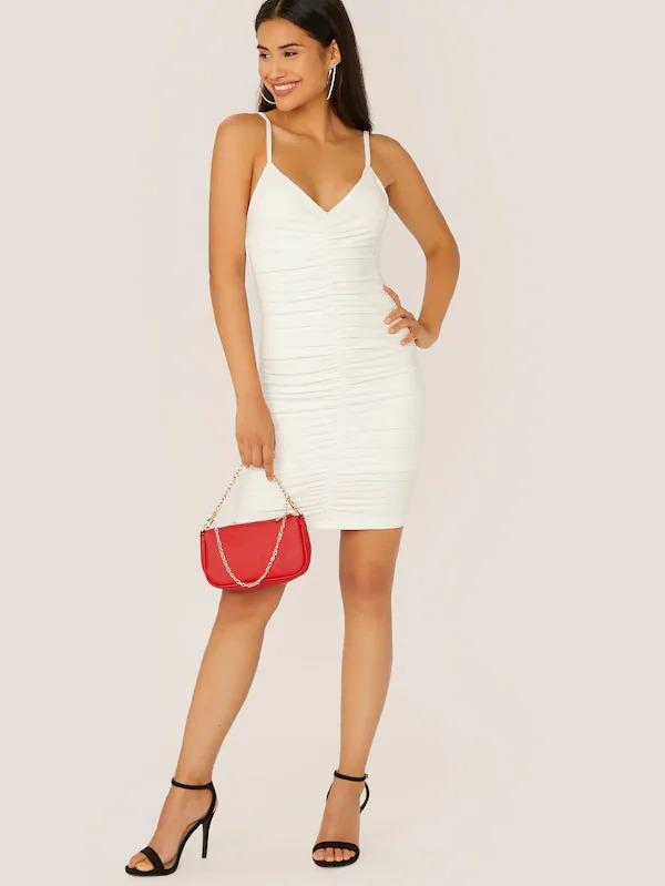 Ruched Detail Bodycon Slip Dress