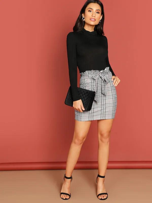 Ruffle Detail Belted Plaid Skirt