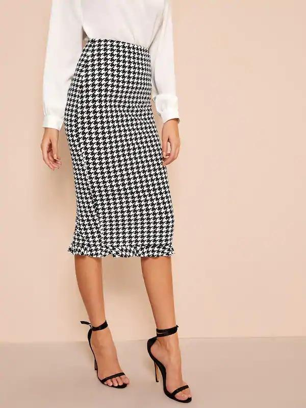 Ruffle Hem Bodycon Houndstooth Skirt