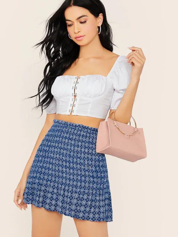 Ruffle Hem Printed Smocked Mini Skirt