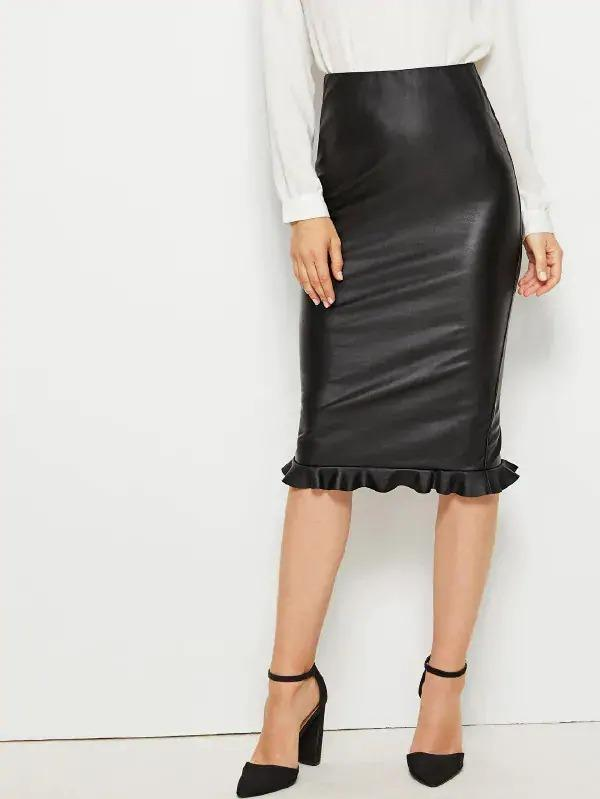 Ruffle Hem Split Side PU Skirt