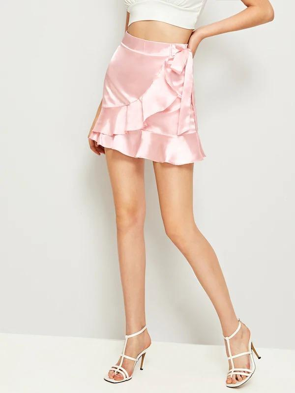 Ruffle Hem Tie Side Satin Skirt