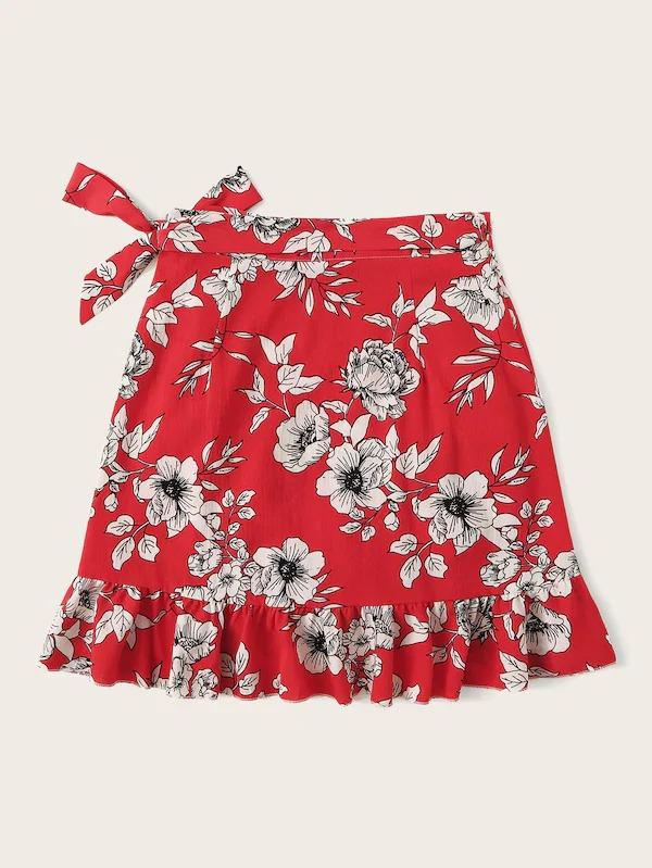 Ruffle Trim Botanical Print Knot Side Wrap Skirt