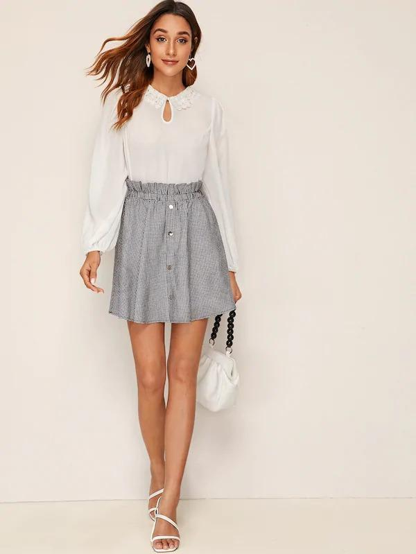 Ruffle Trim Buttoned Plaid Skirt
