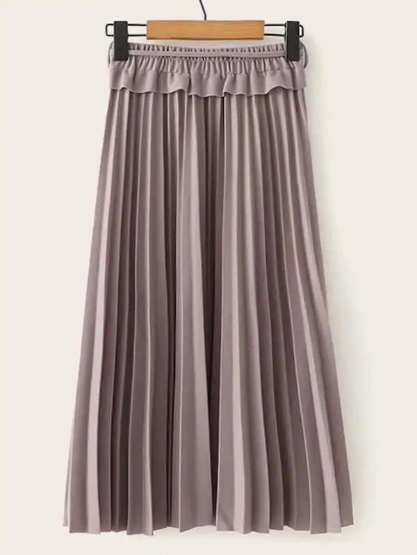 Ruffle Trim Pleated Belted Skirt