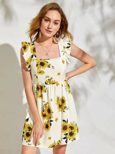 Women Ruffle Armhole Tie Back Sunflower Dress