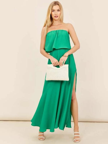 Women Ruffle Overlay Strapless Side Slit Maxi Dress