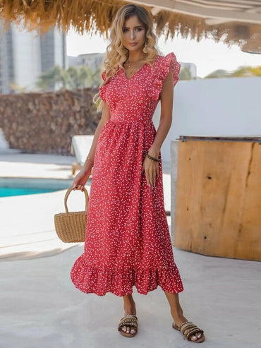 Women Ruffle Trim Allover Heart Print A-line Dress