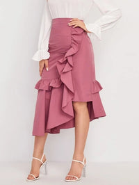 Women Ruffle Trim Asymmetrical Hem Skirt