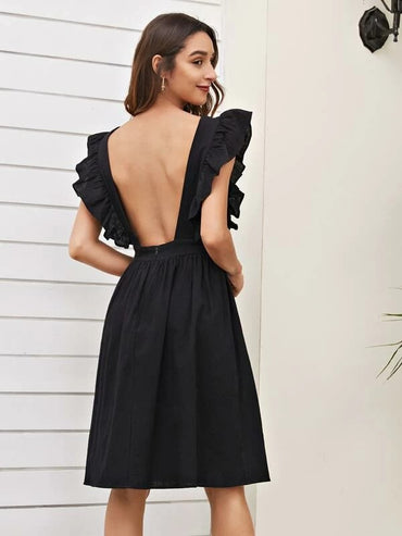 Women Ruffle Trim Backless Midi A-line Dress
