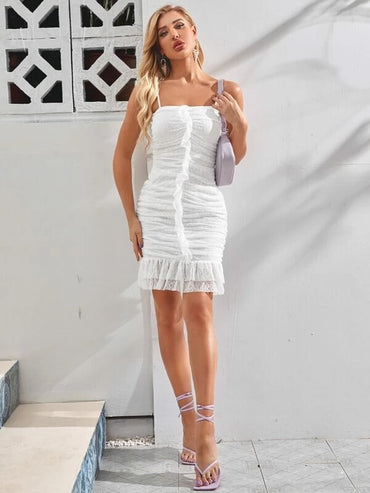 Women Ruffle Trim Ruched Lace Bodycon Dress