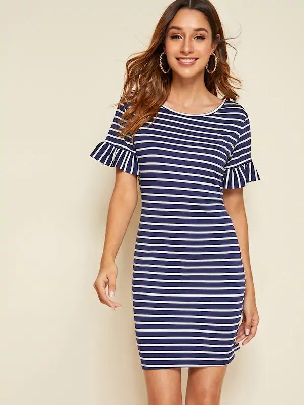 Ruffle Cuff Striped Bodycon Dress
