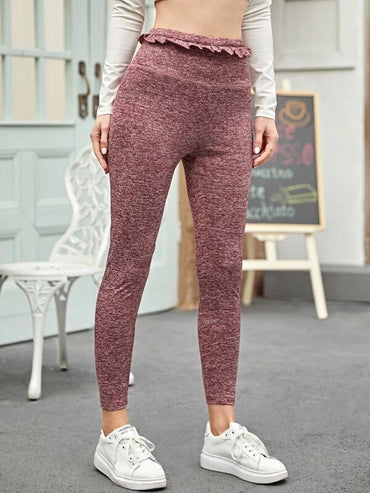 Ruffle Detail Wide Waistband Marled Leggings