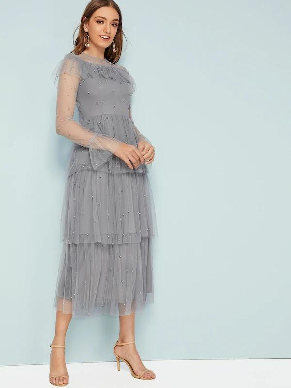Ruffle Trim Beaded Detail Layered Hem Mesh Dress