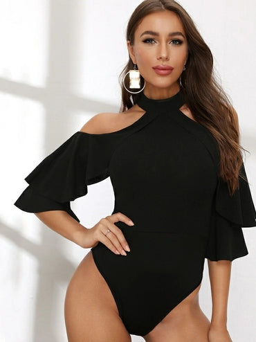 Ruffle Trim Cold Shoulder Halter Bodysuit