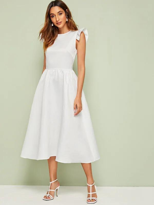 Ruffle Trim Fit And Flare Solid Dress