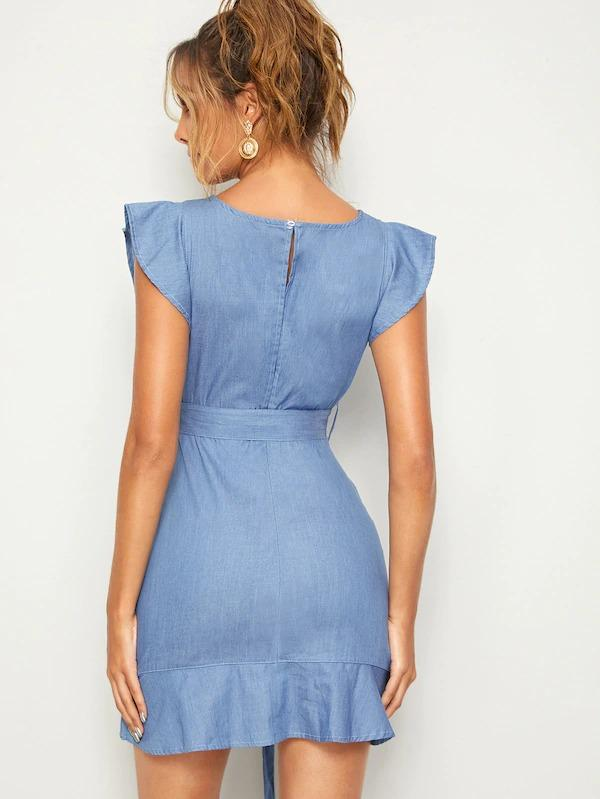 Ruffle Trim Keyhole Back Belted Denim Dress