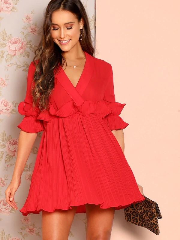 Ruffle Trim Pleated Skater Dress