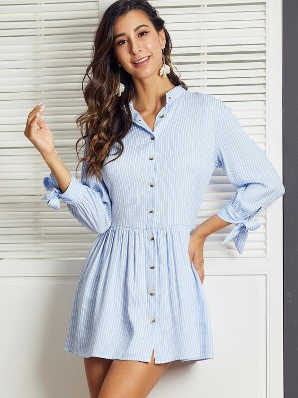 SBetro Knot Cuff Striped Shirt Smock Dress