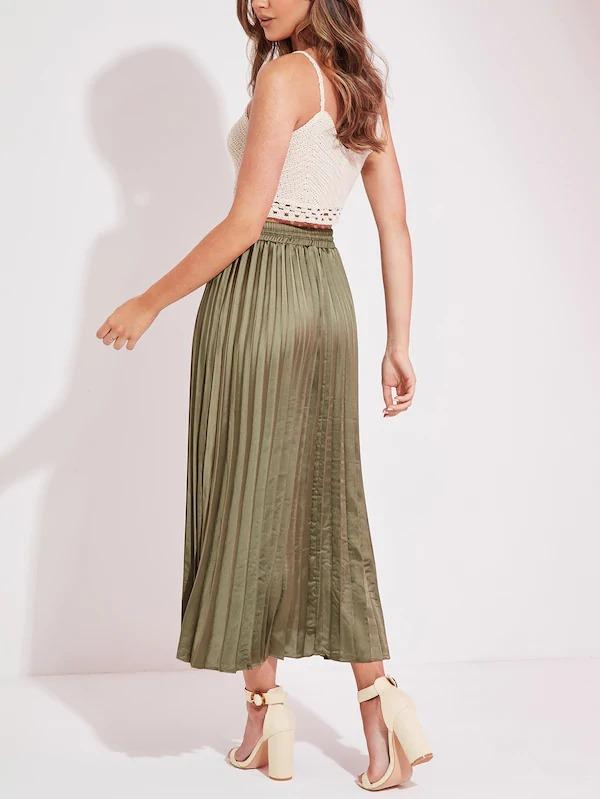 Satin Pleated Longline Skirt