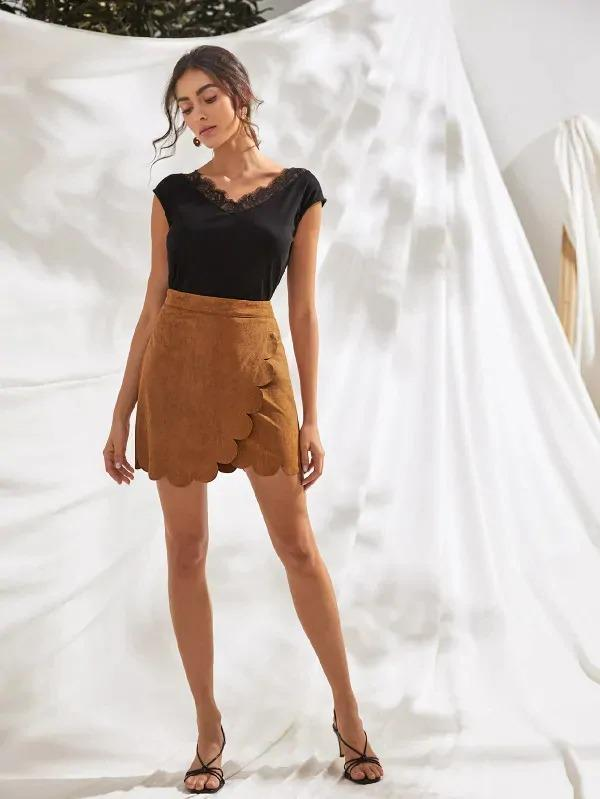 Scallop Edge Wrap Suede Skirt