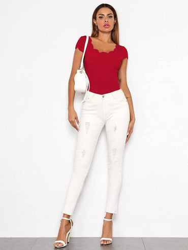 Women Scallop Trim Form Fitted Top