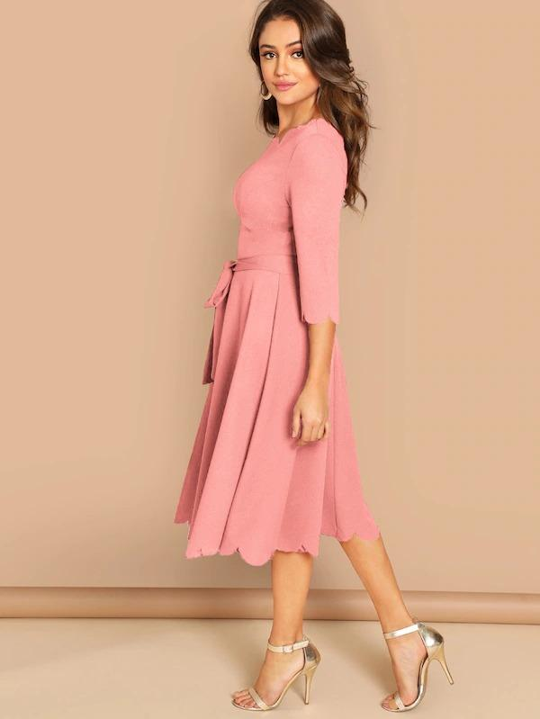 Scallop Trim Belted Flare Dress