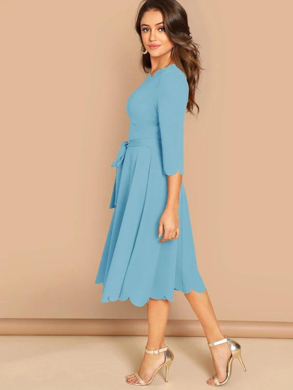 Scallop Trim Solid Belted Dress