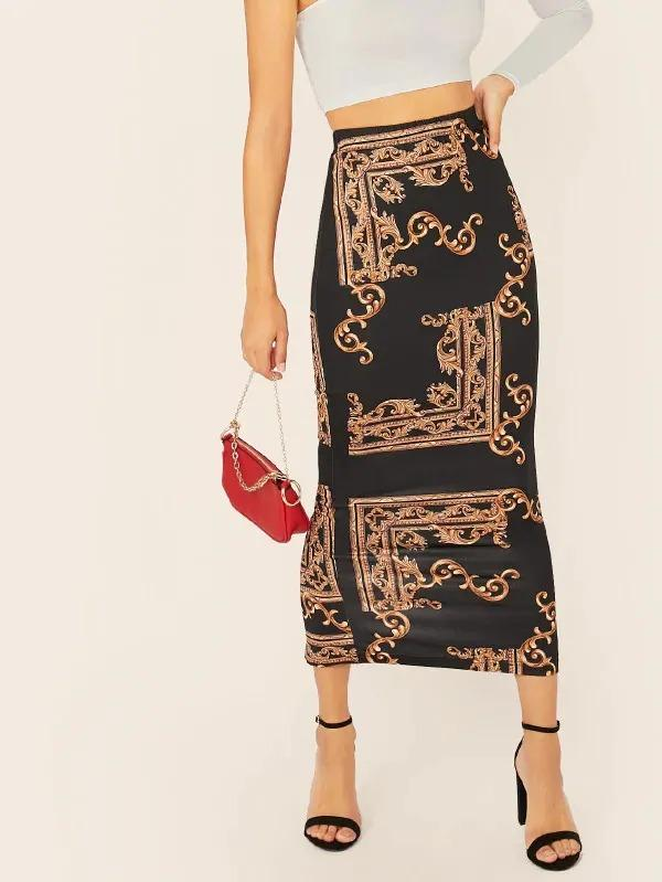Scarf Print Split Hem Pencil Skirt