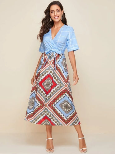 Women Scarf Print Surplice Front Belted Dress