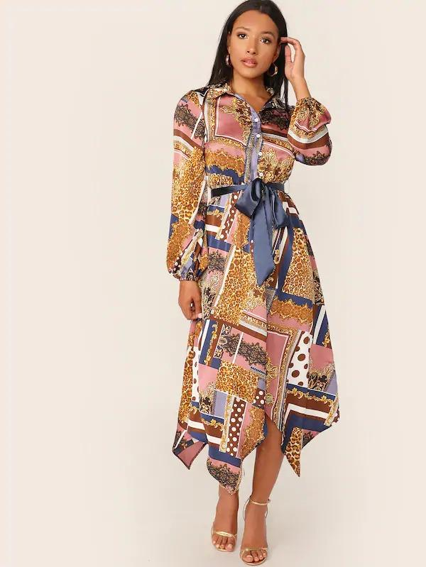 Scarf Print Hanky Hem Belted Dress
