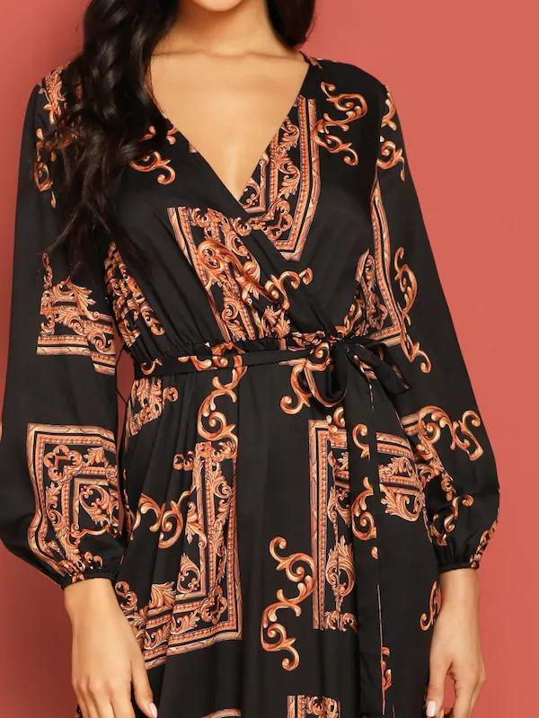 Scarf Print Plunge Belted Maxi Wrap Dress