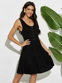 Women Scoop Neck Button Front Smock Dress