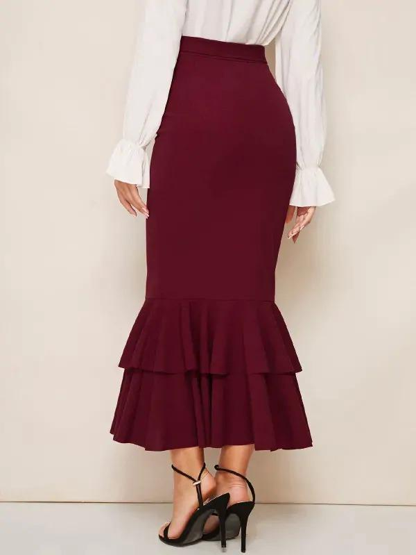 Self Belted Layered Fishtail Hem Pencil Skirt