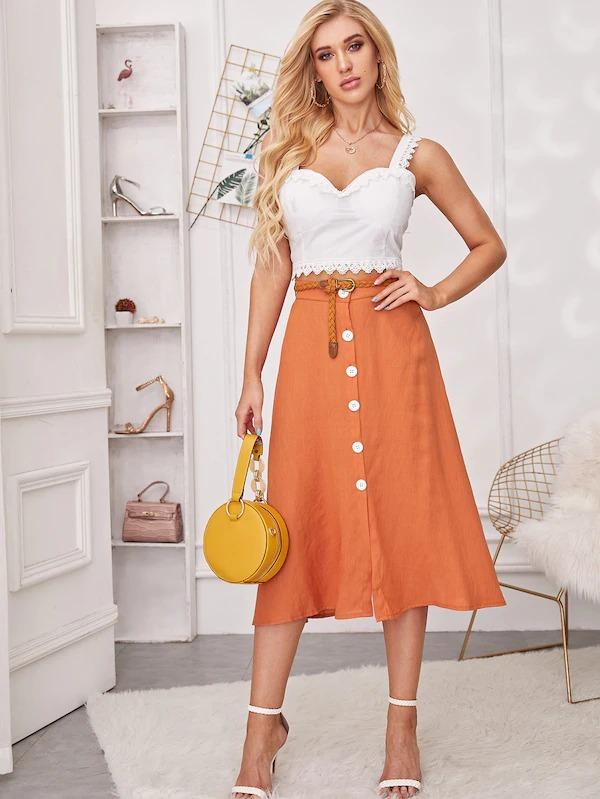 Self Tie Button Front Skirt