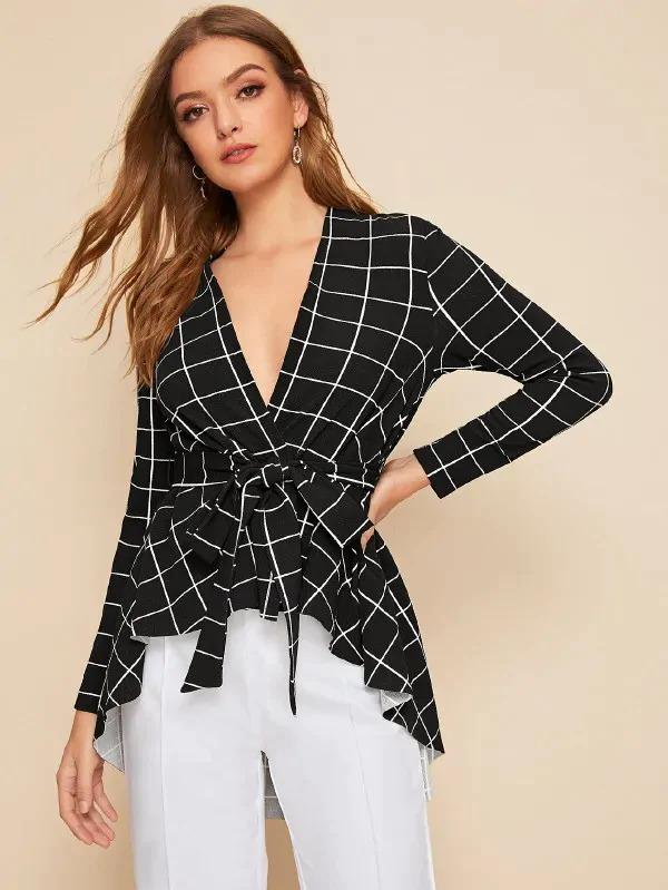 Self Belted Dip Hem Grid Coat