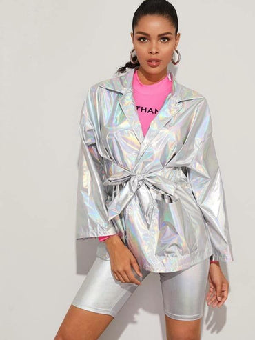 Women Self Belted Holographic Coat