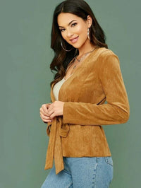 Women Self Belted Suede Coat