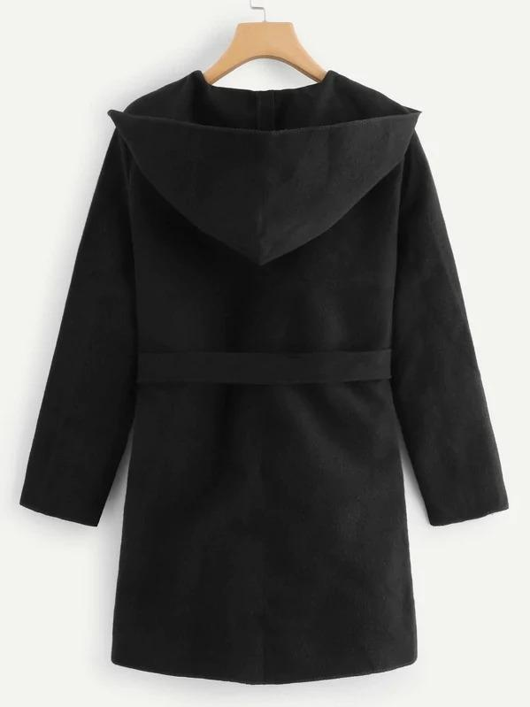 Self Tie Waist Solid Hooded Coat