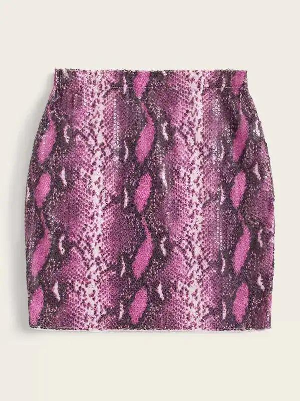 Sequin Snakeskin Bodycon Skirt
