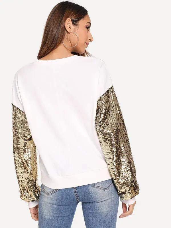 Sequin Contrast Eye Print Pullover