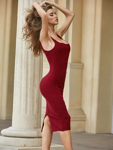 Women Sesidy Zip Back Ruched Bodycon Dress