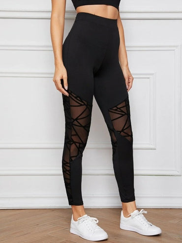 Sheer Geo Mesh Insert Leggings