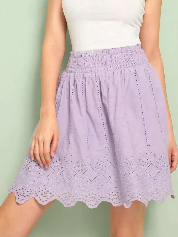 Shirred Waist Chevron Hem Schiffy Skirt