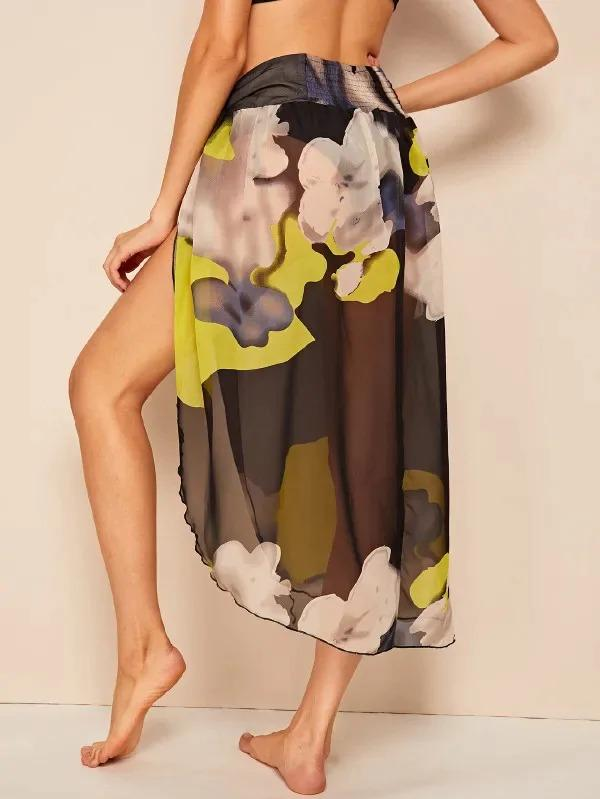 Shirred Waist Split Thigh Abstract Print Sheer Mesh Skirt