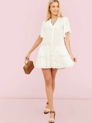 Women Short Sleeve A-Line Ruffle Dress With Pockets