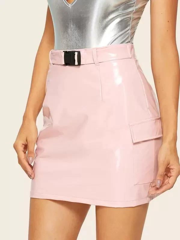 Side Flap Pocket PU Skirt